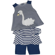 This adorable short set in navy blue and white stripes has a cute top with a 3D swan applique and a skirted capri. So darling!  Available in Sizes 12, 18 and 24 Months