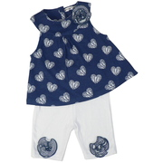 This is a cute navy blue capri set with darling swing top in hearts pattern with white capris with striped rosettes.  Too cute!  Available in sizes 0/3, 3/6 and 6/9 months by Rumble Tumble