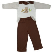 Great Infant Boy 2 Piece Pant Set with Extensive Embroidery and Applique Work Consisting of a Cowboy Boot, Hat and a Cactus on L/S Shirt.  Pull-On Pants have Mock Fly and Pockets.  Adorable!  Available in Sizes 12, 18 and 24 Months.  See Matching Outfit in Newborn Boy