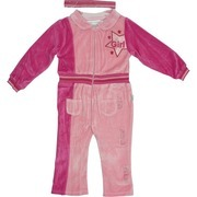 Infant Girl Clothes by Rumble Tumble - Cute Infant Girl Velour Jumpsuit in Pink and Berry with