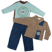 Toddler Boy Clothes by Rumble Tumble with a 4-Piece Set Including Cotton Long Sleeved Camp Shirt with Champion Racing Applique and Patches on Front and Arm, Long Sleeved Tee with World Racing Cup Champion Screen and Brown Racing Stripes Around Neck and Down Sleeves.  Snap Closure at Neck.  Denim Pants with Half Elastic Back, Zip and Button Fly, Two Side Pockets, Two Velcro Front Pockets and Matching Denim Ball Cap with Elastic Back.  Great Set!  Available in Sizes 2T, 3T and 4T