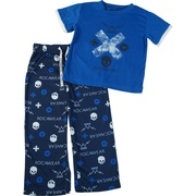 These boys pajamas have a blue short sleeved top with screen print and pull-on bottoms with elastic waist and faux drawstrings.  Flame resistant.  Available in Sizes 2T, 3T and 4T by Rocawear