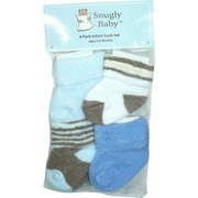 Newborn Boy Socks by Snugly Baby - Four Pack of Newborn Boy Socks in Blue, Brown and White in Mesh Gift Bag for Ages 0-6 Months