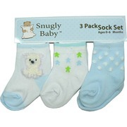 Newborn Boy Socks by Snugly Baby - Three Pack of Baby Boy Socks in White and Blue with Bear, Stars and Fluffy Dots Patterns.  Ages 0-6 months