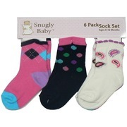 Infant Girl Socks by Snugly Baby - Six Pack of Infant Girl Socks in Vibrant Colors and Fun Patterns (2 Pair of Each Style) for Ages 6-12 Months