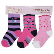 Infant Girl Socks by Snugly Baby, Six Pack of Infant Girl Socks in Fun Colors and Styles (2 Pair of Each Pattern) for Ages 12-24 Months