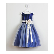 This Adorable Vintage Satin Tulle Dress has a Cream Ribbon and Flower, Delicate Tulle Overlay and Satin Sash that Ties in Back. Great for weddings, holidays or any special occasion!  Available in Sizes 2, 3 and 4 by Sweet Kids.  See also in baby and tween size 7 in other colors.