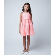 Beautiful dresses in a floral jacquard pattern with a sleeve cut out and in the boldest, brightest colors! The dress falls at the knees.  Available in Lemon Yellow, Coral and Aqua in size 6 (see also in sizes 2, 4 and 8). Made in the USA by Sweet Kids