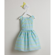 Sweet baby girl dress in directional stripe organza in pastel colors of blue, pink and yellow. Crinoline skirt gives a bit of puff. Zips and ties at back.  Great for Birthdays, Weddings or any Special Occasion! Available in sizes S ( 6/9 mos) M (12 mos), L (18 mos) and XL (24 mos).  *See also in Toddler sizes 2, 3, 4 and girls sizes 6 and 8