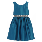 Stunning all satin dress with short bodice layer to show off the sequined waistband.  Zips and ties in back.  Available in Plum and Peacock Blue in Size 6.  (see also in sizes 8, 10, 12)  by Sweet Kids