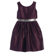 Stunning all satin dress with short bodice layer to show off the sequined waistband. Zips and (satin) ties in back.  Available in Plum and Peacock Blue in Sizes 8, 10 and 12.  (see also in size 6)  by Sweet Kids
