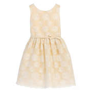 Stunning flower embroidered mesh overlay dress with white sequins, champagne colored underskirt, and a light gold bow/belt that ties in back.  Available in sizes 4, 5, 6.  Great for the holidays, parties and weddings!  by Sweet Kids (available in grey in sizes 8, 10, 12)