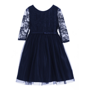 Elegant navy dress with 3/4 lace sleeves and tulle overlay skirt.  Dainty bow that ties in back.  Available in sizes 8, 10, 12 (see also in 2, 3, 4)  Made in the USA by Sweet Kids