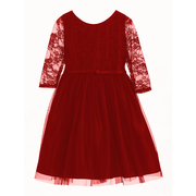 Darling 3/4 lace sleeve and bodice with a tulle skirt makes this dress great for the holidays!  Feminine waist bow ties to larger bow in back.  Available in Red and Navy in sizes 2, 3 and 4 Made in the USA by Sweet Kids