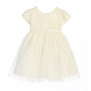 Sweet baby girl ivory lace dress with tulle skirt, large bow ties in back.  Great for weddings, holidays, special occasions!  Available in sizes 6/9, 12, 18 and 24 months.