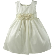 Perfect Baby Girl Dress for Any Fancy Occasion with Square Neck, Taffeta Tea-Length Dress with Hand-Rolled Flower Cumber-band, Zip Closure, Tie Back and Netted Petti-Skirt for Fullness.  Fully Lined.  Made in the USA by Sweet Kids. Available in Sizes 6/9, 12, 18 and 24 Months. Perfect for Weddings, Parties or any Special Occasion!  In Stock in Ivory and Pink Sizes 12, 18 and 24 Months *Available in many colors and sizes. Give us a call!