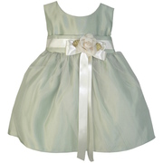 This Adorable Vintage Satin Tulle Dress in Sage Green has a Cream Ribbon   with Detachable Flower, Delicate Tulle Overlay and Satin Sash that Ties in Back.  So Sweet!  Available in Sizes 6/9, 12, 18 and 24 Months by Sweet Kids