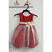 Beautiful vintage look satin and tulle dress with satin dress with a tulle overlay, ribbon trim with removable flower pin.  Great for the holidays and weddings!  Available in Red and Black in sizes S (6/9), M (12), L (18) and XL (24) months - MADE in the USA!