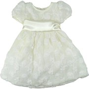 Baby Girl Special Occasion Dresses - Beautiful Infant Girl Dress in Floret Cluster Kami Silk, Sleeves Trimmed in Satin and Satin Band and Tie in Back. Fully Lined. Gorgeous!  Available in Sizes 6/9, 12, 18 and 24 Months.  by Sweet Kids