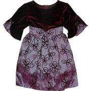 Infant Girl Holiday Dresses by Sweet Kids, Beautiful Flocked Taffeta Dress with 3/4 Flutter Sleeve.  Plum Velvet Bodice and Iridescent Lilac Skirt, Bow and Trim.  Very Pretty!  Available in Sizes 6/9 (SM), 12 (MD), 18 (LG) and 24(XL) Months.