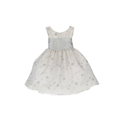 Dresses, Special Dresses - Beautiful Infant Girl Embroidered Organza Dress with Silver Sash that Ties at Back with Zipper Closing.  Pretty Embroidered Flowers and Leaves adorn this Dress.  Fully Lined and Crinoline Slip for Fullness.  She will Sparkle in this dress!  Available in sizes 6/9, 12, 18 and 24 months by Sweet Kids