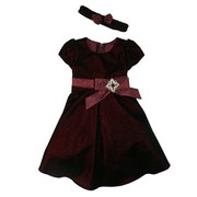 Infant Girl Holiday Dresses by Sweet Kids, Sweet Tea Length Duplex Velvet Dress in Sparkly Ruby Red with Zip and Tie Back Sash with Decorative Gold Broach  and Headband. Available in Sizes 12, 18 and 24 Months.  (Matching Sister Dress in Toddler and 4-6Xl) She