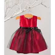 This is a beautiful infant girl satin holiday dress with a glitter mesh skirt overlay and a black sash and bow that makes an elegant statement. Available in Red and Ivory in Sizes 6/9, 12, 18 and 24 months by Sweet Kids, Made in the USA!