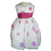 Girls Special Occasion Dresses Made in the USA, Fun Party Dress in White Organza with Fuchsia and Lilac Embossed Swirls and Fuchsia Sash that Ties in Back, Zip Closure and Lots of Layers. Great for Weddings, Parties or any Special Occasion!  Available in Sizes 4, 5, 6 and 7 (Also in Toddler Girl) by Sweet Kids,