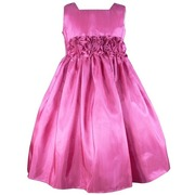 Beautiful Flower Girl Dresses in Deep Fuchsia and Celery Green with Hand-rolled Flower Cumber-band that Ties at Back, Zip Closure, Many Layers for Fullness.  Perfect for Weddings, Parties or any Special Occasion!  Available in Sizes 2, 3, and 4 (More colors and sizes available, Give us a Call!) by Sweet Kids, Made in the USA