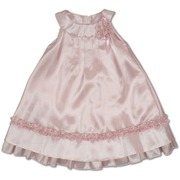 Toddler Girl Satin Dress, Beautiful Light Weight Ruffle Taffeta A-Line Dress with Gathered Top and Ruffle Trim on Bottom, Flower and Ribbon Accent, Zip Closure.  Elegant Sheen!  Made in the USA by Sweet Kids.  Available in Sizes 2T, 3T, 4T.  Perfect for Parties, Weddings or any Special Occasion!  See Matching Sister Dress in Infant Girl