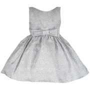 This Jacquard Girls Dress is Beautiful in Two Tone Grey with all-over Rose Pattern with Bow in Front and Ties in Back. Fully Lined and Tulle Petticoat for Fullness. Looks like an Audrey Hepburn Style.  Classic!  Available in Size 6 (Also in Toddler Girl)