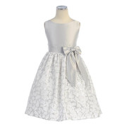 This is a Gorgeous Floral Lace Dress with Silver Sequins together with a Satin Bodice in Silver with a Bow at the Side and Ties in the Back.  Very Elegant!  Great for Weddings and Holidays!  Available in Sizes 3 and 4 (Also in Young Girls sizes 5 and 6)