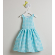 This adorable dress is in a floral jacquard pattern with a sleeve cut out and in the boldest, brightest colors! The dress falls just above the knees.  Available in Lemon Yellow, Aqua and Coral in sizes 2 and 4 (see also in sizes 6 and 8). Great for parties, photos and weddings! Made in the USA by Sweet Kids