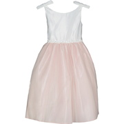 This adorable flower girl dress is in two tones, bodice is off-white and skirt is in an antique pink with a tulle overlay that is trimmed in ribbon and faux pearls.  There are bows at the shoulders. Zips and ties in back. Sweet!  Available in sizes 2 and 4 (see also in 6, 8, 10). Made in the USA by Sweet Kids