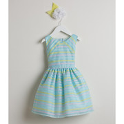 Sweet toddler girl dress in directional stripe organza in pastel colors of blue, pink and yellow. Crinoline skirt gives a bit of puff. Zips and ties at back.  Great for Easter, Weddings or any Special Occasion! Available in sizes  2, 3 and 4 (see also Infant sizes 6/9, 12, 18 and 24 months) by Sweet Kids