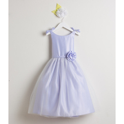 This sweet flower girl dress is in a double bow satin and tulle style with bows at shoulders, removable hand-rolled flower on waist and tulle overlay on satin skirt.  Zips and ties at back. Crinoline skirt gives just the right touch of puffiness.  Available in sizes 2, 3 and 4 and 6, 8, 10 *See coordinating baby dress in Infant Girl by Sweet Kids