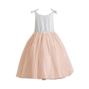 This adorable flower girl dress is in two tones, bodice is off-white and skirt is in an antique pink with a tulle overlay that is trimmed in ribbon and faux pearls.  Sweet bows at the shoulders. Zips and ties in back. Elegant!  Available in sizes 2 and 4 (see also in 6, 8, 10). Made in the USA by Sweet Kids