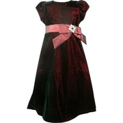 Girls Holiday Dresses by Sweet Kids - Pretty Tea Length Duplex Velvet Dress in Sparkly Ruby Red Velvet with Zip and Tie Back Sash with Decorative Gold Broach .  Available in Sizes 6, 8, 10 and 12.  (Matching