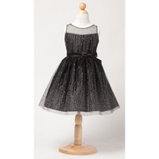 Find this chic dress in satin with an icicle glitter mesh overlay and belt with bow. Beautiful!  Available in Peacock Blue, Red and Black in sizes 8, 10 and 12 (See also sizes 4-6) by Sweet Kids, Made in the USA
