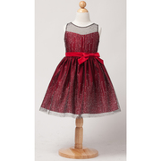 Find this beautiful dress in satin with an icicle glitter mesh overlay and belt with bow.  Available in Peacock Blue, Red and Black in sizes 4, 5 and 6 (See larger sizes in 8-12) by Sweet Kids, Pair with our velvet bolero jacket C17, all Made in the USA