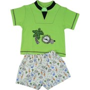 Infant Boy Short Sets by SnoPea - Cute Infant Boy Short Set in 100% Cotton with Lime Green Shirt with Lion and Palm Tree Appliques, Black Trim and Threading, Pull-on Shorts with two Front Pockets, Elastic Waist and All-over Safari Animal Print.  Very Cute!  Available in Sizes 12 and 24 Months