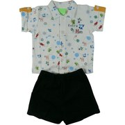 Infant Boy Short Sets by SnoPea - Cute Infant Boy Short Set in 100% Cotton with White Collared Shirt with All-over Space/Martian Print with Four Button Closure, Black Pull-on Shorts with Front Pockets and Elastic Waist.  Very Cute!  Available in Sizes 12, 18 and 24 Months
