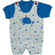 Infant Boy Clothes by SnoPea - Adorable Baby Boy Romper Set in White with All-over Under the Sea Print and Whale  Applique. Buttons at Shoulders, Matching Royal Blue Tee with Snaps .  Too Cute!  Available in Sizes  12, 18 and 24 Months