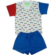 Baby Boy Short Sets in 100% Cotton by SnoPea - Colorful Baby Boy Short Set with V-Neck Tee in Classic Car Print with one Red and one Blue Sleeve, Matching Blue Pull-On Shorts with Elastic Waist and Front Pockets.  Cars are Cool!  Available in Sizes 6 and 9 Months. Larger Sizes in Infant Boy