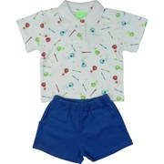 Infant Boy Short Sets in 100% Cotton - Cute Infant Boy Short Set has White Polo Shirt with All-over Baseball Print, Royal Blue Pull-on Shorts with two Front Pockets, Elastic Waist.  Available in Sizes 12, 18 and 24 Months.  by SnoPea