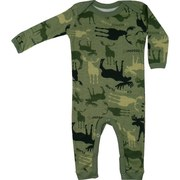 Baby Clothes - Adorable Baby Union Suit / Coverall in Green Camouflage Moose Print with Lap Shoulder and Snap Legs.  Available in Size 18 Months by Wild & Cozy