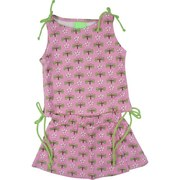 Infant Girl Clothes by SnoPea - Adorable Infant Girl Skirt Set in 100% Cotton Pink Dragonfly Print.  Top has Green Side Pull Ties to Gather and Shorten with a  Little Tennis Skirt. Cute!  Available in Sizes 12, 18 and 24 Months.
