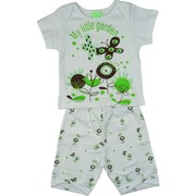 Adorable Baby Girl Short Set in 100% Cotton with White Shoulder Lap Tee with Mint and Brown Garden Print and Pull-On Garden Print Shorts. So Cute!  Available in Sizes 6 and 9 Months.  More Sizes in Infant Girl by Sno Pea
