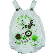 Infant Girl Clothes by SnoPea, Adorable Infant Girl Bubble Romper in White with Mint and Brown Garden Print, Criss-Cross Straps with Button Closure, Elastic Back and Legs.  Cute, Cute, Cute!  Available in Sizes 12, 18 and 24 Months.