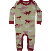 Baby Girl Coveralls - Adorable Coverall with All-over Horse Print in Pink and Berry.  Lap Shoulders and Snap Legs.  So Cute!  Available in Sizes 3/6, 6/12 and 18 Months  by Wild & Cozy